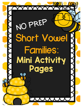 {FREEBIE} Short Vowel Word Families Mini Activity Pages