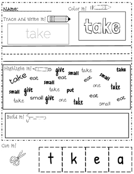 *FREEBIE* Sight Word Practice Pages