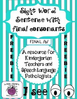 "~FREEBIE~ Sight Words and Final Consonants /b/ final ""I se"