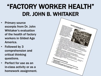 """""""Factory Worker Health"""" - Gilded Age America - Industrial"""