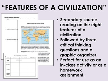 """""""Features of a Civilization"""" Reading with Questions - Glob"""