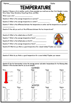 Inquiry Based Temperature Worksheet