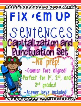 """Fix 'Em Up"" Sentences to edit/correct! *CAPITALIZATION &"
