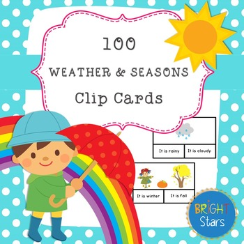 100 Weather & Seasons Clip Cards