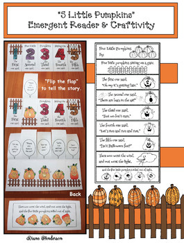"""Five Little Pumpkins"" Flip the Flap Craftivity & Emergent"