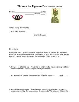 """Flowers for Algernon"" Part I Questions + Sentence Frames"
