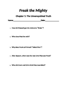 """""""Freak the Mighty"""" Chapter Questions"""