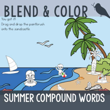 *FREE* - Blend & Color: Summer Compound Words - Phonemic A