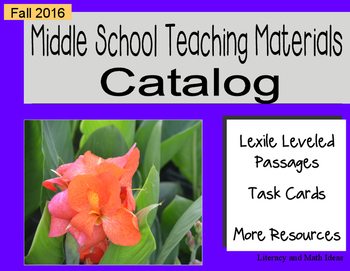 (Free) Fall 2016 Middle School Catalog of Teaching Resources