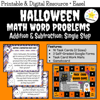 ***Free*** Halloween Word Problems Task Cards - Addition &