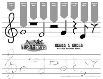 (Free) MrMikesMusicMats.com Traceable Notation Sheet