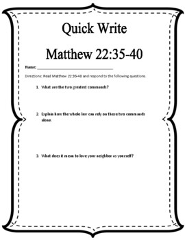 {Freebie} Bible Quick Write- Greatest Commands