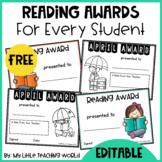 {Freebie} Editable Reading Award Certificates