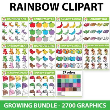 {GROWING BUNDLE} 2700 Graphics Rainbow Clipart Set - (100 Sets)