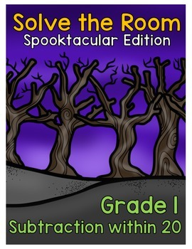 {Grade 1} Spooktacular Subtraction Solve the Room Activity Packet
