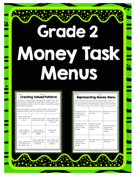 {Grade 2} Money Question Menus