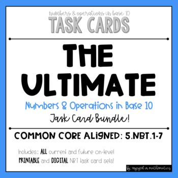 {Grade 5} NBT Task Card *Complete* Bundle - Color and B&W!
