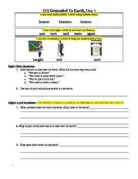 """""""Grounded to Earth"""" Fluency Sheet, Reading A-Z Level H"""