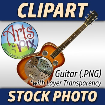 """! """"Guitar"""" Clipart Stock Photo of a Bluegrass Acoustic Guitar"""