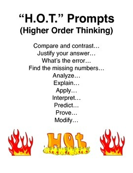 """""""H.O.T."""" Prompts (Higher Order Thinking) sign"""