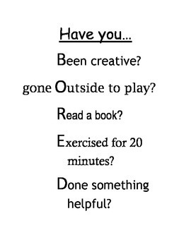 """Have you..."" checklist"