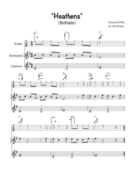 """""""Heathens"""" Refrain play-along for Ukuleles and barred instruments"""