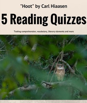 """Hoot"" Quick Chapter quizzes; printables; keys included; e"