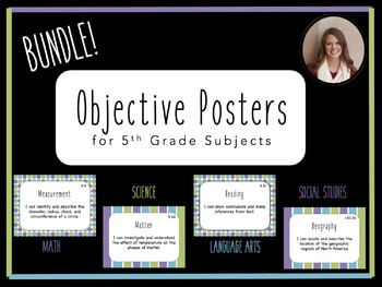 """I Can"" Objective Posters - 5th Grade Bundle - 4 Core Subj"