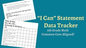 """I Can"" Statement Student Data Tracker - 6th Grade Math"