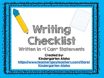 """I Can"" Writing Checklist"