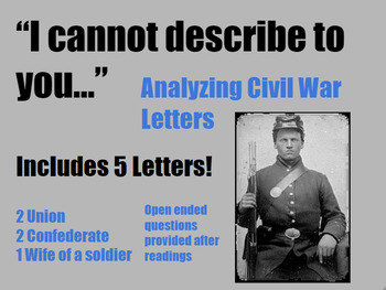 Close Reading Civil War Letters (Primary Source) for Middl