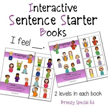 """I Feel"" Interactive / Adapted Sentence Starter Books - Sp"
