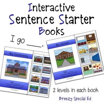 """I Go"" Interactive / Adapted Sentence Starter Book"
