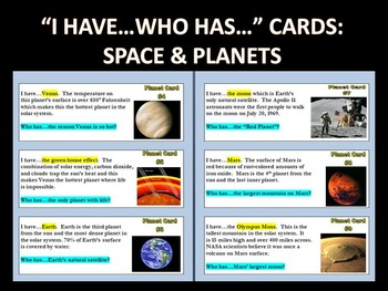 """""""I Have...Who Has"""" Cards : SPACE AND PLANETS (with webques"""
