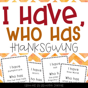"""""""I Have, Who Has?"""" - Thanksgiving Vocab"""