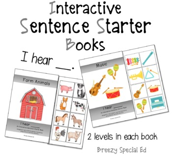 """I Hear"" Interactive / Adapted Sentence Starter Book - spe"