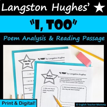 """""""I, Too"""" by Langston Hughes - Poem Activities"""