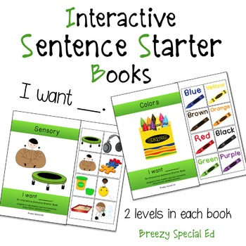 """I Want"" Interactive / Adapted Sentence Starter Book - spe"