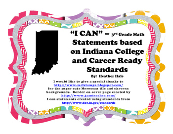 """""""I can..."""" 3rd Grade Math Indiana Statements"""
