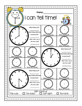 """""""I can tell time"""" - No prep, Print and Go! FREEBIE"""