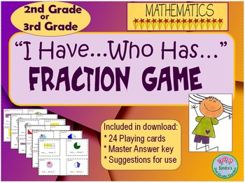 """""""I have...Who has..."""" Fraction Game for 2nd or 3rd Grade."""