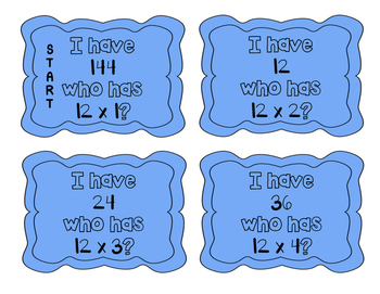 """I have, who has?"" Multiplication Facts x12"