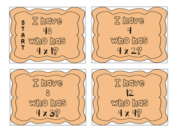 """""""I have, who has?"""" Multiplication Facts x4"""