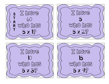 """""""I have, who has?"""" Multiplication Facts x5"""