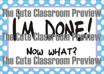"""""""I'm Done"""" Classroom Cue Cards"""