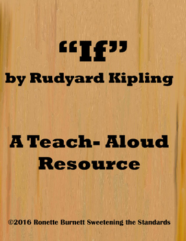 """If"" by Rudyard Kipling- A Teach- Aloud Resource"