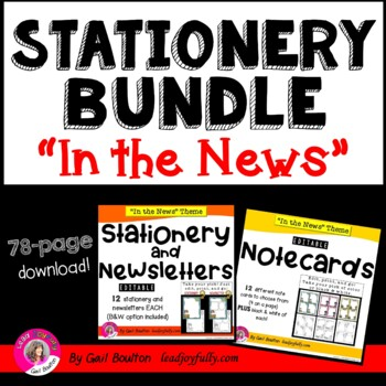 """""""In the News"""" EDITABLE Stationery, Newsletters, & Note Car"""