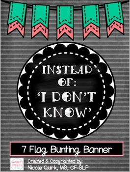 """Instead of I Don't Know"" 7 pc Bunting Banner - Mint Coral"