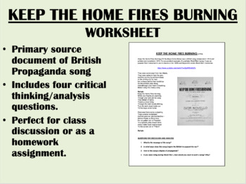 """Keep the Home Fires Burning"" - World War I Propaganda - G"