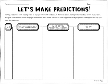 """""""Let's Make Predictions!"""" Double-Sided Graphic Organizer f"""